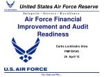Air Force Financial Improvement and Audit Readiness