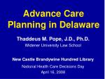 Advance Care Planning in Delaware