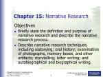 Chapter 15:  Narrative Research