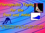 Therapeutic Taping for the Foot and Ankle