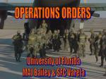 OPERATIONS ORDERS