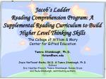 Jacob's Ladder Reading Comprehension Program: A Supplemental Reading Curriculum to Build Higher Level Thinking Skills