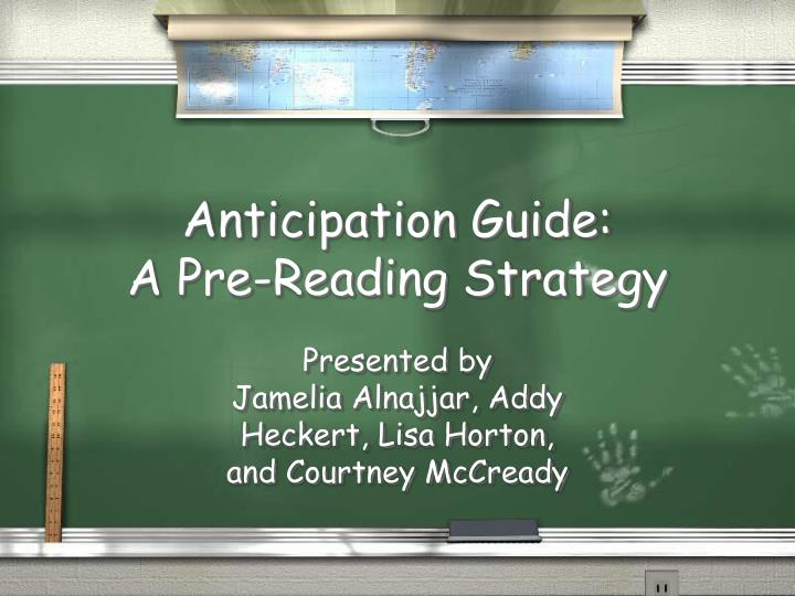 anticipation guide a pre reading strategy n.