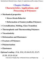 Chapter Outline: Characteristics, Applications, and 	Processing of Polymers
