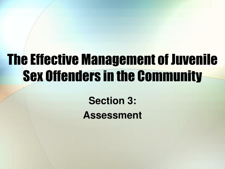 the effective management of juvenile sex offenders in the community n.