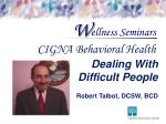 Dealing With Difficult People Robert Talbot, DCSW, BCD