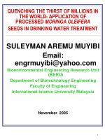 QUENCHING THE THIRST OF MILLIONS IN THE WORLD- APPLICATION OF PROCESSED MORINGA OLEIFERA SEEDS IN DRINKING WATER TREAT