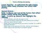 Factors affecting meal planning