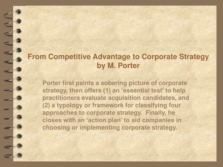 from competitive advantage to corporate strategy by m porter n.