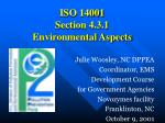 ISO 14001 Section 4.3.1 Environmental Aspects