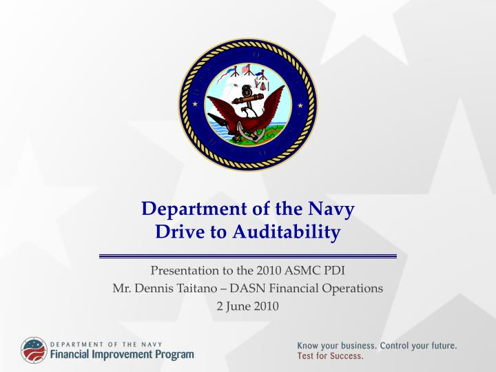 department of the navy drive to auditability n.