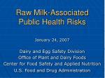Raw Milk-Associated Public Health Risks