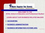 WELCOME TO THE ECSU, School of Education and Professional Studies! LEARN ABOUT OUR BUSINESS RELATED MAJORS ACCOUNTING