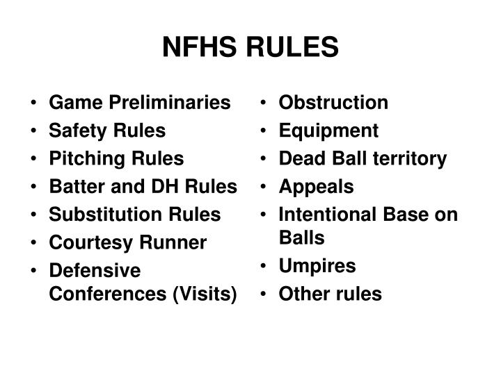 Ppt Nfhs Rules Powerpoint Presentation Id1232425