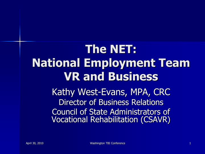 the net national employment team vr and business n.