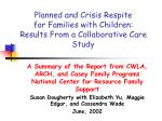 Planned and Crisis Respite for Families with Children: Results From a Collaborative Care Study
