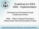 Guidelines for IDEA 2004 - Implementation