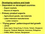 Dependent on developed countries Export markets Source of imports Primary product exports Agricultural goods, raw mate
