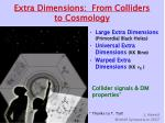 Extra Dimensions:  From Colliders to Cosmology