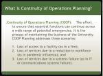 What is Continuity of Operations Planning?