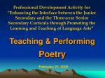 Teaching & Performing Poetry
