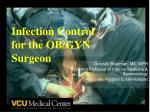 Infection Control  for the OB/GYN Surgeon