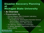 Disaster Recovery Planning at Michigan State University