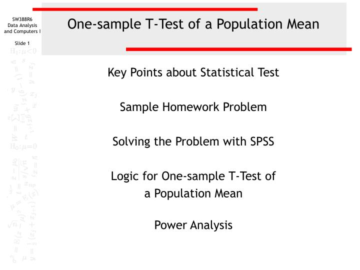 one sample t test of a population mean n.