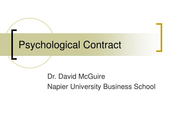 psychological contract n.