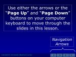 """Use either the arrows or the """" Page Up """" and """" Page Down """" buttons on your computer keyboard to move through the slides"""