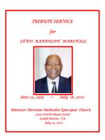 TRIBUTE SERVICE for LEWIS RANDOLPH MARSHALL