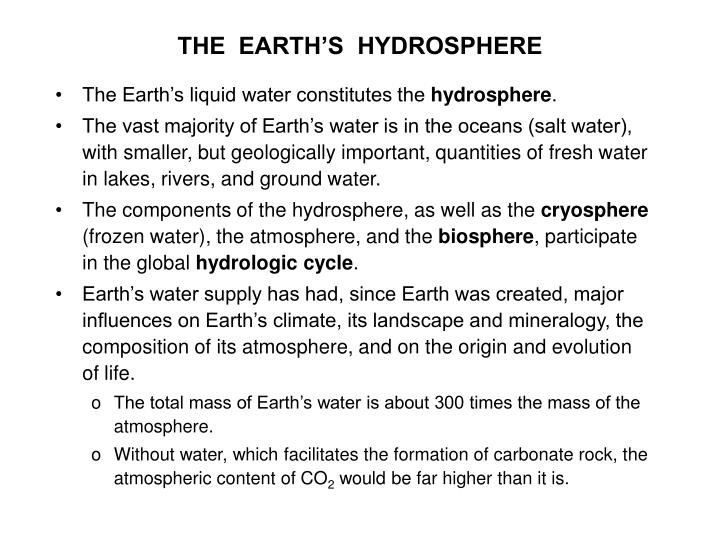 the earth s hydrosphere n.