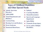 Types of Childhood Disabilities  and Other Special Needs