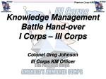 Knowledge Management Battle Hand-over I Corps – III Corps
