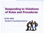 Responding to Violations of Rules and Procedures