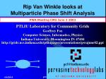 Rip Van Winkle looks at Multiparticle Phase Shift Analysis