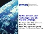 Update on Clean Coal Technologies and CO 2 Capture & Storage
