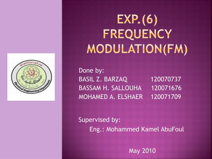 exp 6 frequency modulation fm n.