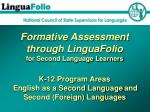 Formative Assessment through LinguaFolio for Second Language Learners K-12 Program Areas English as a Second Language an