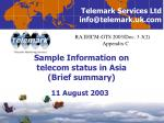 Sample Information on  telecom status in Asia (Brief summary)