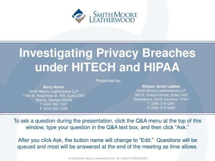 investigating privacy breaches under hitech and hipaa n.