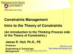 Intro to the Theory of Constraints
