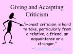 Giving and Accepting Criticism