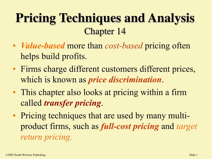 pricing techniques and analysis chapter 14 n.