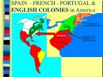 SPAIN – FRENCH - PORTUGAL &                       ENGLISH COLONIES  in America