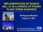 IMPLEMENTATION OF SENATE BILL X1 28 & UPDATE OF POWER PLANT SITING GUIDANCE