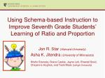 Using Schema-based Instruction to Improve Seventh Grade Students' Learning of Ratio and Proportion
