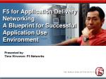 F5 for Application Delivery Networking A Blueprint for Successful Application Use Environment