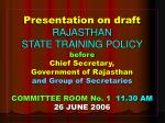 RAJASTHAN STATE TRAINING POLICY