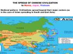 THE SPREAD OF CHINESE CIVILIZATION                                to  Korea,  Japan,  Vietnam